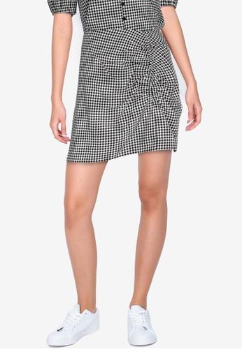 ZALORA BASICS 多色 Ruched Front Gingham Mini Skirt 90EBCAA00F1E47GS_1