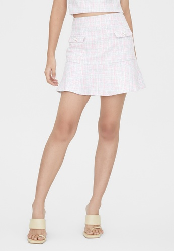 Pomelo pink Twin Pocket Ruffle Flare Skirt - Pink DAA87AA6EDA27FGS_1