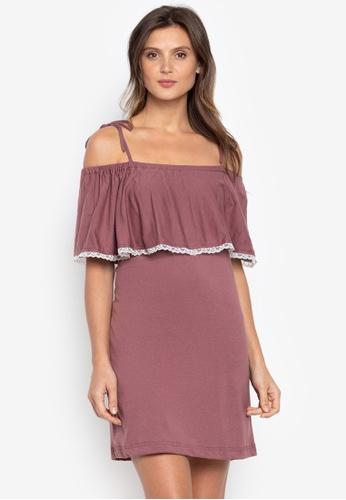 moondaze pink Jess Off Shoulder Dress F2EE6AA4D69D90GS_1