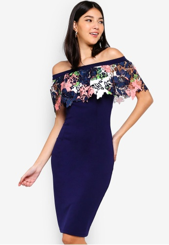 Paper Dolls navy Navy Lace Bardot Dress 1ADE6AAAAFBA5AGS_1