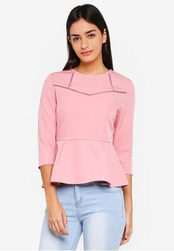 ZALORA pink Lace Trim Peplum Top 98193AACD5245AGS_1