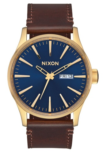 Nixon brown and blue and gold Sentry Leather 42mm - Polished Gold/Navy Sunray (A1053320) AD0A8AC4C707BBGS_1