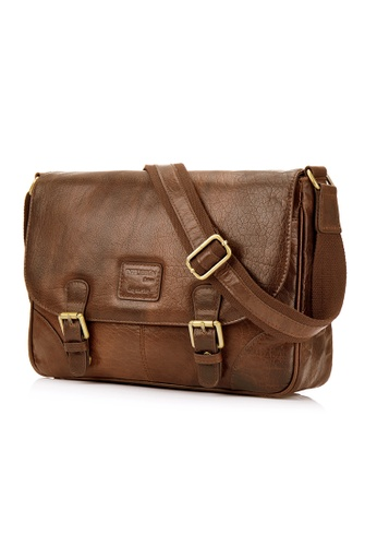 ENZODESIGN brown Antique Heavy Two Tone Buffalo Leather Small Messenger EN880AC65RHUHK_1