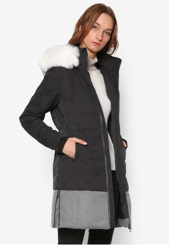 混合材質修身長版羽絨外套, 服飾esprit台灣門市, 外套