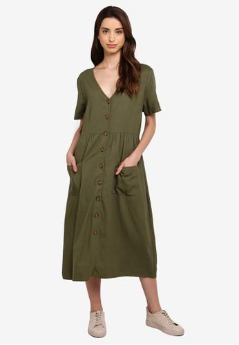 Cotton On 綠色 Camila Button Through Midi Dress 0467DAA8791873GS_1