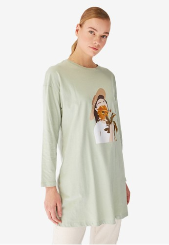 Trendyol green Printed Tunic Tee 5379DAAE961650GS_1