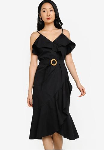 ZALORA BASICS 黑色 Ruffle Detail Fake Wrap Dress 3BAB7AAD5B4D5CGS_1