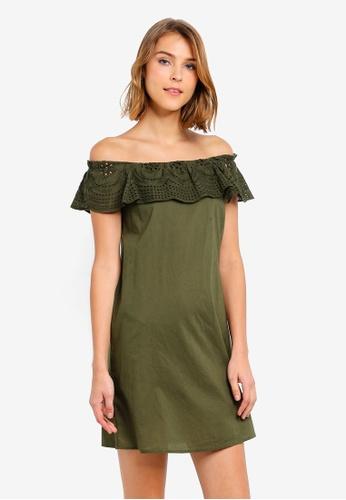 b18d58cf26f458 Buy Dorothy Perkins Khaki Broderie Frill Dress Online on ZALORA Singapore