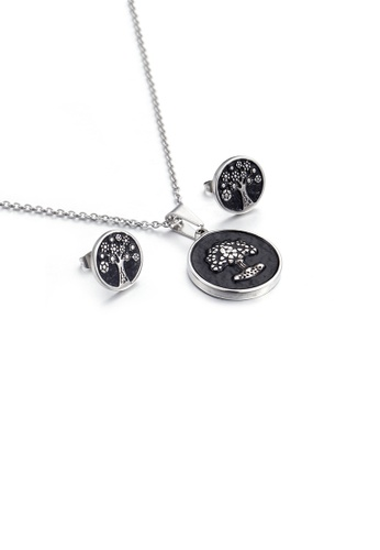 Glamorousky silver Fashion Vintage Tree Of Life Geometric Round 316L Stainless Steel Necklace and Stud Earring Set 41FB6ACA67E108GS_1