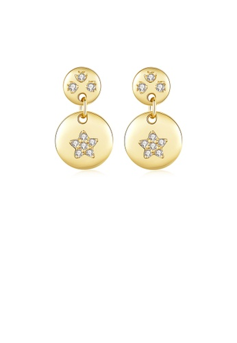 Glamorousky white 925 Sterling Silver Plated Gold Fashion Simple Star Geometric Round Stud Earrings with Cubic Zirconia A71D4AC8381E31GS_1