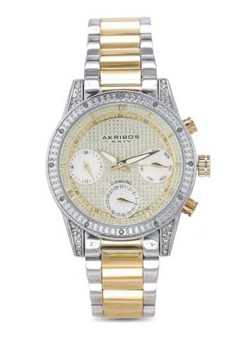 Akribos XXIV silver and gold Date Diamond Watch 8050BAC1C4DA75GS_1