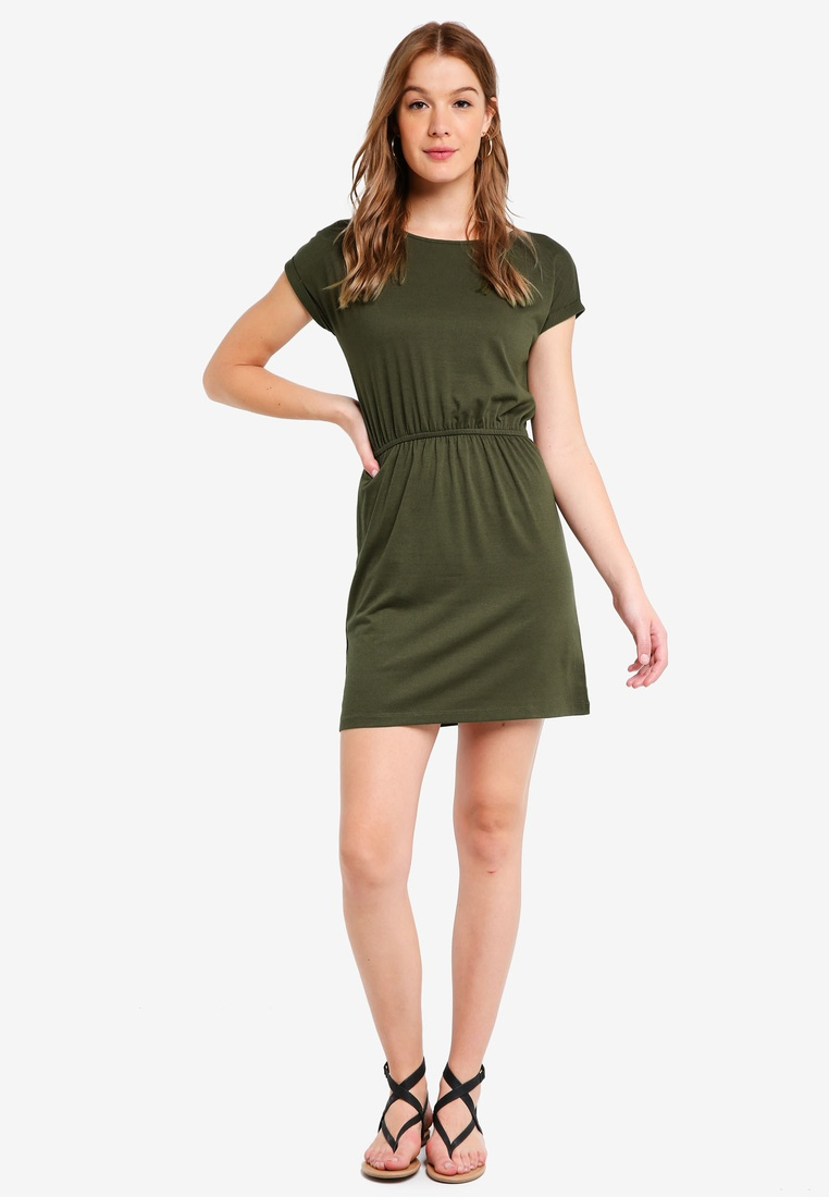 BASICS pack Green Basic Dark Gathered Waist Dress 2 White T Stripe ZALORA with Navy Shirt AZdxwz