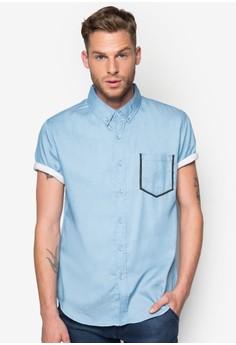 Framed Pocket Denim Short Sleeve Shirt