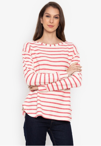 MARKS & SPENCER red Cotton Rich Striped Long Sleeve Top 4277BAA391DFA9GS_1
