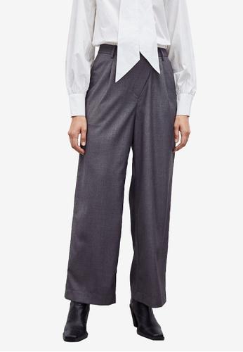Urban Revivo grey Asymmetrical Straight Cut Pants 94B85AA2BD03CBGS_1