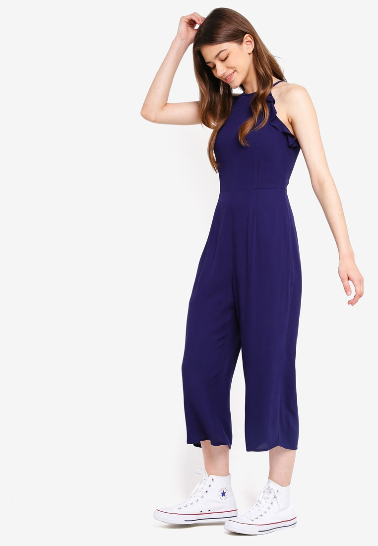 Jumpsuit Detailed In Borrowed Cut Something Navy Ruffles qXAnF