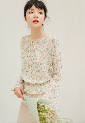 Shopsfashion beige Floral Printed Blouse  80EF7AA6CC0FD9GS_1