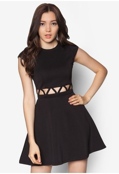 Crossed Cut Out Flare Dress
