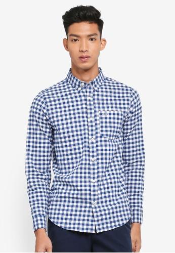 Hollister 藍色 Long Sleeve Poplin Shirt 2C067AA8F751DEGS_1