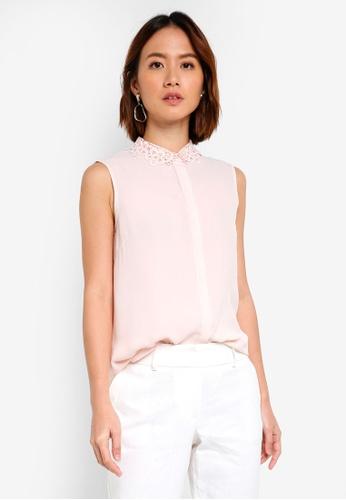 Dorothy Perkins pink Pink Lace Collar Shirt EAA24AAFAE9D23GS_1