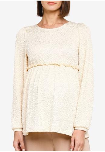 Mama.licious beige Maternity California Long Sleeves Jersey Top 4E0E2AAFF91B89GS_1