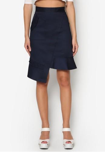 不對稱荷葉擺短裙, 服飾, esprit門市地址裙子