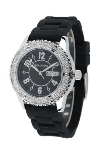 EGLANTINE silver EGLANTINE® Vanessa Ladies Steel Quartz Watch Paved with Crystals on Black Rubber Strap 2C450ACF1066A6GS_1