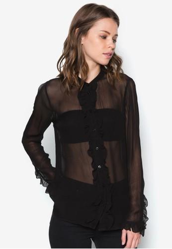 荷葉飾長袖上衣zalora是哪裡的牌子, 服飾, 上衣