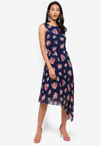 WAREHOUSE blue Int Floral Spot Pleated Dress B1DDCAAEDE25F4GS_1