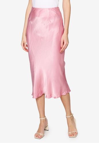 Hopeshow pink Pencil Midi Skirt BABF7AA4AA5C84GS_1