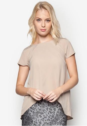 zalora 折扣碼不對稱下擺短袖上衣, 服飾, 上衣