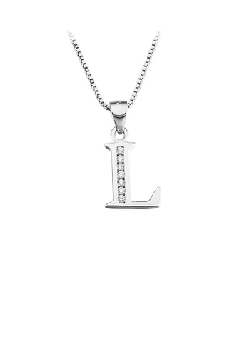 Glamorousky white 925 Sterling Silver Fashion Simple English Alphabet L Pendant with Cubic Zirconia and Necklace BAF91ACA698653GS_1