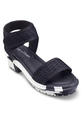Zeus 網眼印花粗跟涼鞋, esprit 高雄女鞋, 鞋