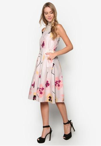 印花及膝吊帶洋裝, 韓系時尚, esprit手錶專櫃梳妝