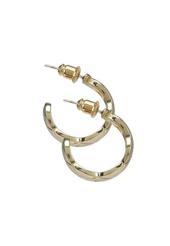 Red's Revenge gold Organic Ridge 14K Gold Plated Hoop Earrings F6C35AC576E580GS_1