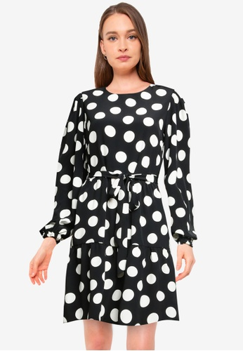 Dorothy Perkins black Spotted Print Puff Sleeve Fit & Flare Dress 7E180AAC965593GS_1