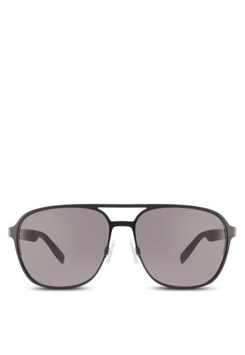5d33d5fadf1 Boss Orange black Metal with Back Rim Soldered Temple Sunglasses  BO434GL88HRVMY 1