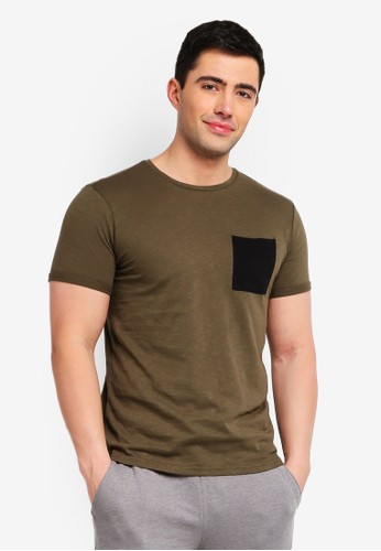 OVS green Slub T-Shirt With Pocket D2874AA5E577CBGS_1