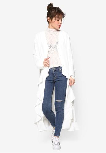 韓系時尚荷葉飾長版外套, 服飾, 夾克 &aesprit台北門市mp; 大衣