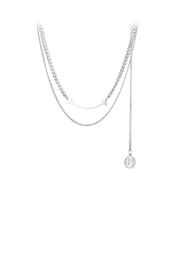 Glamorousky 銀色 時尚簡約笑臉316L鋼多層項鏈 1236FAC3B82E85GS_1