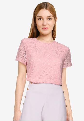 ZALORA OCCASION pink Lace Boxy Top 5FEB1AAA44BEC7GS_1