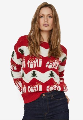 Vero Moda red Christmas Mix Long Sleeves Sweatshirt 5709FAA986197EGS_1