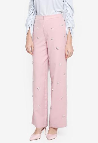 Lubna pink Embellished Pants 514DFAA609FBD3GS_1