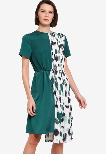 ck CALVIN KLEIN green LIGHTWEIGHT PRINTED DRESS WITH PLEATS F8825AA914FCE7GS_1