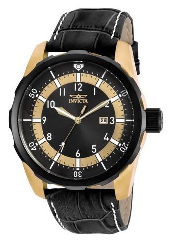 INVICTA black and gold Invicta Aviator Men 50mm Case Black Leather Strap Black Dial Quartz Watch 19564 w/ Cap IN968AC0FKHESG_1