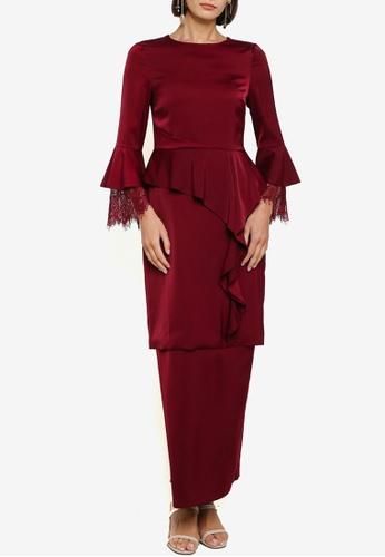 Zalia 紅色 Satin Front Drape Kurung AB543AA936A7D6GS_1