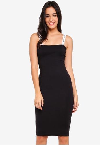 MISSGUIDED black Slogan Strap Jersey Bodycon Midi Dress 2E30BAAB43BCD8GS_1