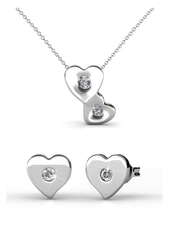 Her Jewellery silver Swarovski® Crystals -Double Love Set (18K White Gold Plated) Her Jewellery HE581AC0RJ5TMY_1