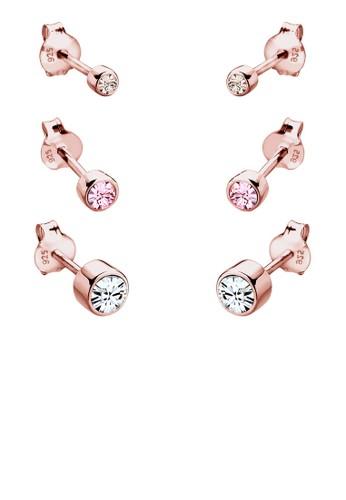 925 施華洛世奇水晶純銀鍍玫瑰金耳環組合, 飾品esprit台灣網頁配件, 耳釘