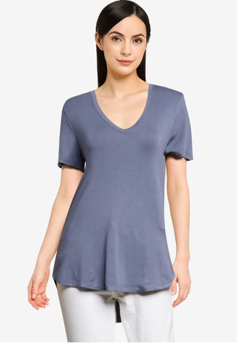 Abercrombie & Fitch blue V-Neck Drapey Tee 36E25AA5870CDCGS_1